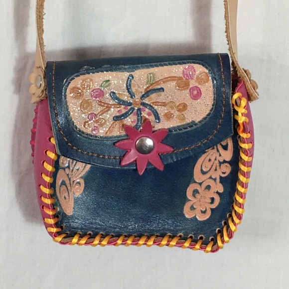 Unknown Handbags - Cute Little Tooled Leather Crossbody Purse